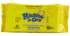 RICITOS ORO WIPES FOR BABIES WITH CHAM & ALOE 80'S