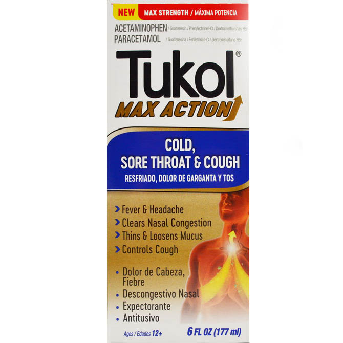 TUKOL ADULTS MAX ACTION COLD, SORE THROAT & COUGH 6oz